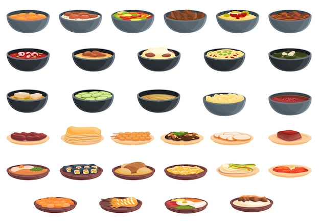 한국 요리 아이콘을 설정합니다. 웹 디자인을 위한 한국 요리 벡터 아이콘의 만화 세트