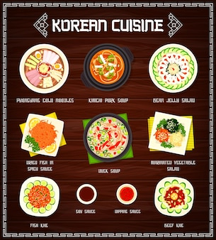 Korean cuisine menu illustration design