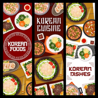 Korean cuisine restaurant dishes posters. seafood and pork tofu, kimchi soups, vegetable stuffed squid, scallop salad and grilled beef bulgogi, fried shrimp with spinach vector. korean food banner