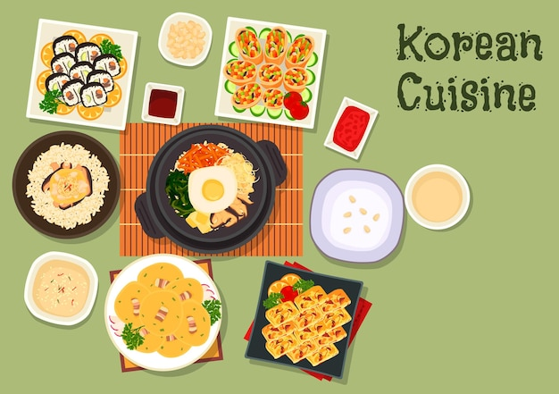 Korean cuisine sushi roll kimbap with mixed vegetable rice bibimbap, fried roll with vegetables, chicken mushroom rice, vegetable omelette, rice porridge, bean pancake with bacon