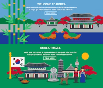 Korean Culture Travel Horizontal Banners Set