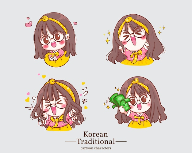 伝統的な韓国の韓服ドレス漫画の韓国のかわいい女の子。セットイラスト