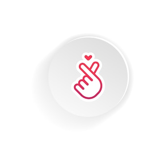 한국어 핑거 하트. 한글. 사랑 손 제스처의 메시지입니다. 격리 된 흰색 배경에 벡터입니다. eps 10.