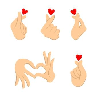Корейское сердце пальца. вектор символа любви