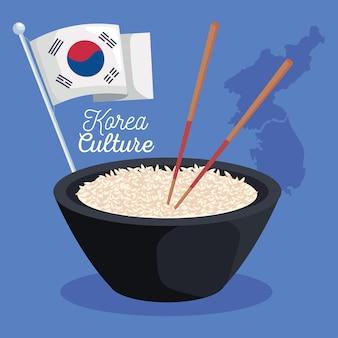 韓国料理と旗