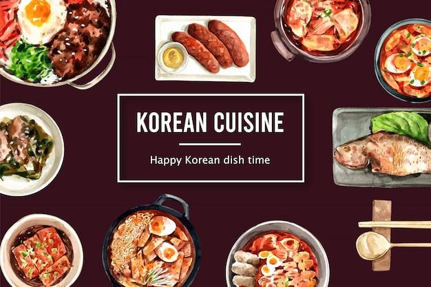 ラーメン、スープ水彩イラストと韓国料理のデザイン。