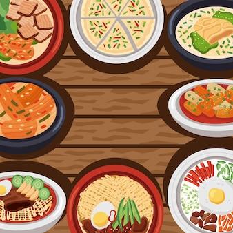 木製の背景の韓国料理