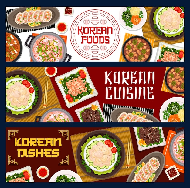 Korean food restaurant meals posters. vegetable stuffed squid, seafood and pork tofu soup, fried shrimp with spinach, grilled beef bulgogi and scallop salad, kimchi soup vector. korean cuisine banners