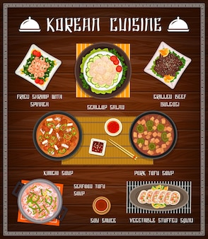 Korean food restaurant menu cover with seafood and vegetable meals. fried shrimp with spinach, stuffed squid and grilled beef bulgogi, scallop salad, soy sauce and pork tofu, kimchi soups vector.