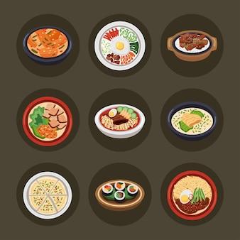 韓国料理は9つのアイコンを設定します