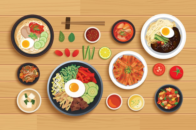 Korean food set on top view wooden table table