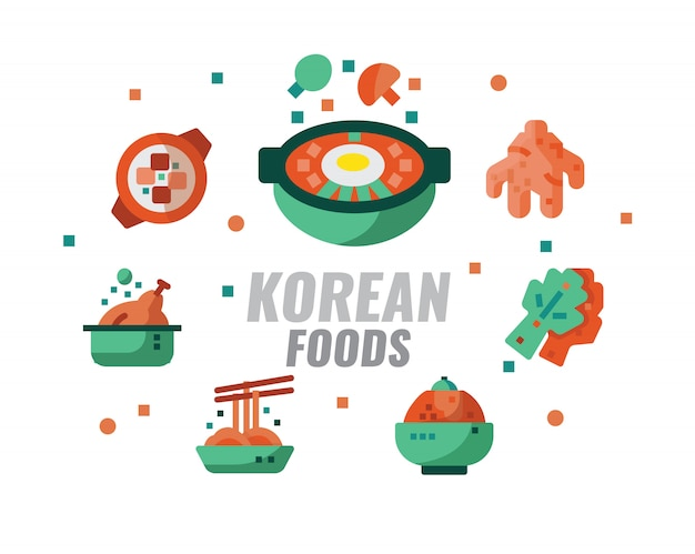 Korean foods, cuisine, recipes banner. vector illustration