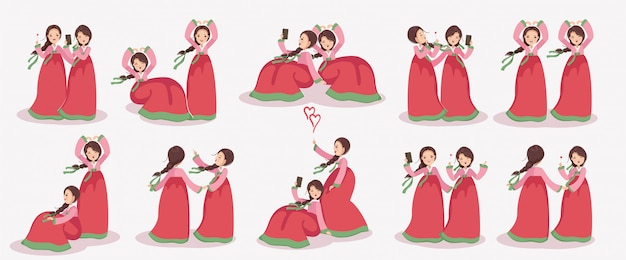 Korean girl character set. female dress in hanbok. emotions and gestures.