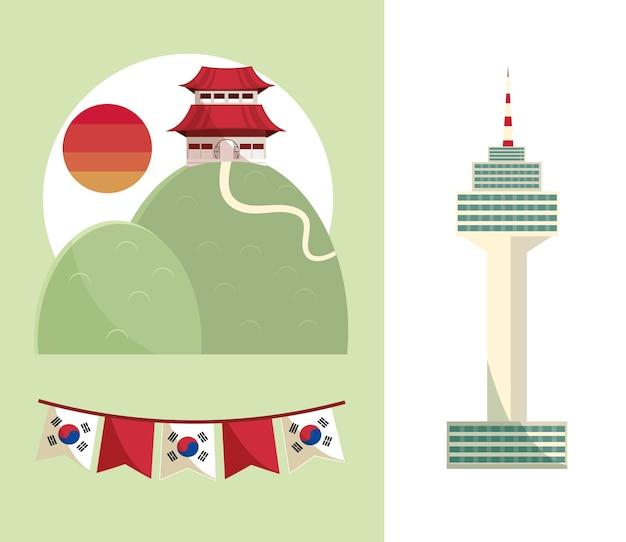 Korean landmark and flags