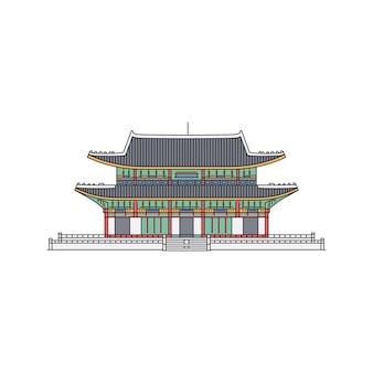 한국 랜드 마크 기호 흰색 배경에 탑 스타일 스케치 만화 그림에서 고 대 건물. 건축 관광객 아시아 명소.