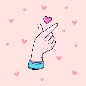 한국 사랑의 사인, 발렌타인 데이 포스터 장식. 심장 일러스트로 한국 손가락