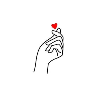 한국 사랑의 상징 미니 하트. 최소한의 선형 추세 스타일에서 사랑 상징의 여성 손의 벡터 일러스트 레이 션. 로고 개념, 티셔츠, 포스터, 발렌타인 데이 카드에 인쇄