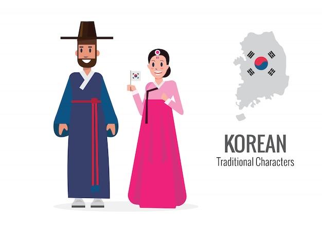 한국 남자와 여자 전통 의상