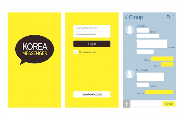 Korean messenger. kakao talk interface with chat boxes, contact list and icons vector message template