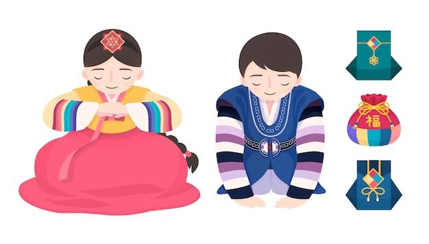 白い背景に韓国の新年のカスタム韓服とフォーチュンバッグのデザイン、新年の弓をやっている人々