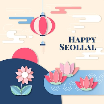 한국 새해 종이 스타일 수련 꽃