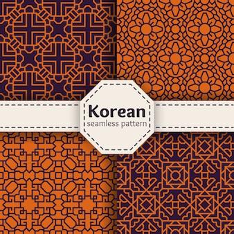 韓国または中国の伝統ベクトルシームレスパターンセット。アジアのオーナメントデザインアートイラストコレクション