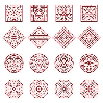 韓国の装飾品。伝統的なアジアの幾何学的なテクスチャの円と正方形は、本物のデザインコレクションをベクトルします。中国の幾何学的な装飾、パターン韓国のテクスチャイラスト