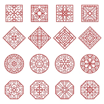 Korean ornament. traditional asian geometrical texture circles and squares vector authentic designs collection. chinese geometric decoration, pattern korean texture illustration