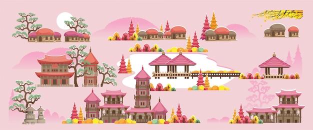 한국식 건물 세트. 한국 스타일의 아름다운 집과 사원.