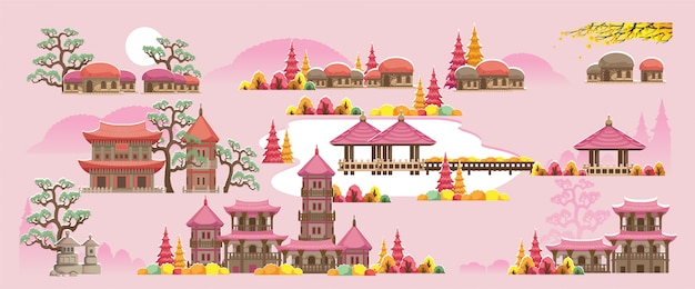 Korean style building set. beautiful houses and temples in korean style.