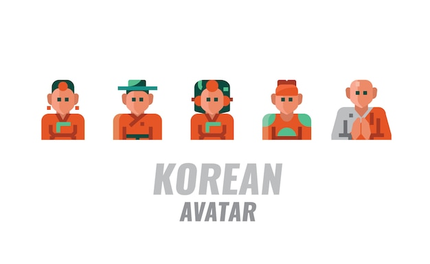 Korean traditional avatar. vector illustration