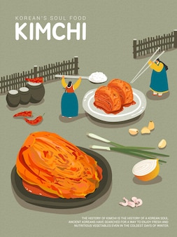 Korean traditional food kimchi and kimchi ingredients