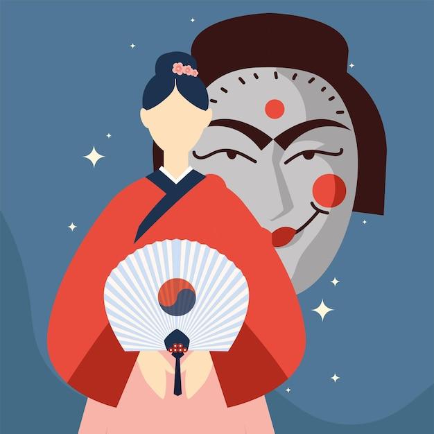 한국 여자와 마스크