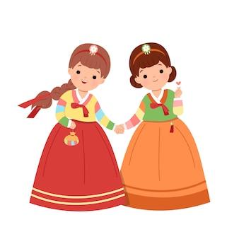 한국의 전통 한복 드레스를 입고 함께 손을 잡고 한국 여성. 한국 공휴일 클립 아트를 축하하는 여자 친구. 평면 스타일 벡터 절연