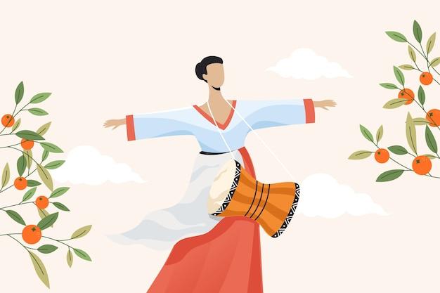 秋夕を祝うために韓服を着ている韓国人女性。フラットの図。