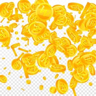 韓国ウォンはコインが落ちて勝った。余分に散らばったウォンコイン。韓国のお金。ポジティブな大当たり、富または成功の概念。ベクトルイラスト。