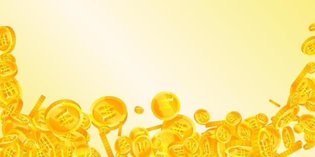 韓国ウォンはコインが落ちて勝った。大きく散らばったウォンコイン。韓国のお金。強力な大当たり、富または成功の概念。ベクトルイラスト。