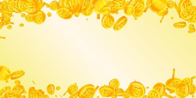 韓国ウォンはコインが落ちて勝ちました。真っ白な散らばったウォンコイン。韓国のお金。珍しい大当たり、富または成功の概念。ベクトルイラスト。