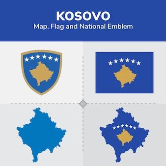 Карта, флаг и национальный герб косово