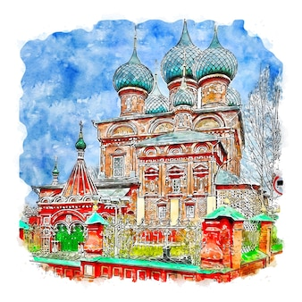 Кострома россия акварельный эскиз рисованной иллюстрации