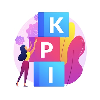 Kpi抽象概念図。主要業績評価指標、成功の測定、会社の成長、ビジネスの有効性、分析ツール、財務管理、kpi。