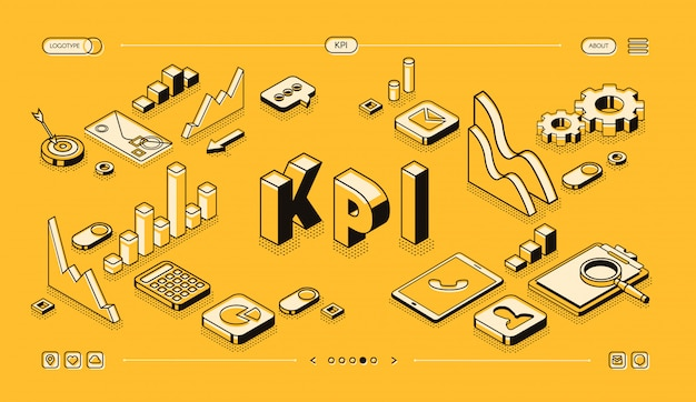 Kpi business performance strategy and analysis illustration in thine line isometric design