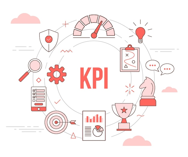 Kpi concept спидометр стратегия шахматный план диаграмма трофейный щит защита с шаблоном набора иконок с современным оранжевым стилем и кругом