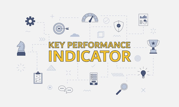 Kpi key performance indicator concept with icon set with big word or text on center vector illustration
