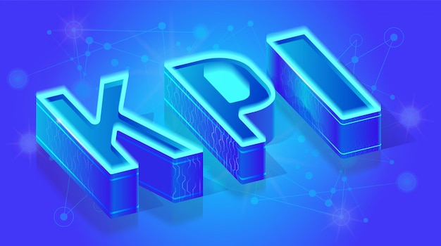 Kpi service 3d isometric vector banner template