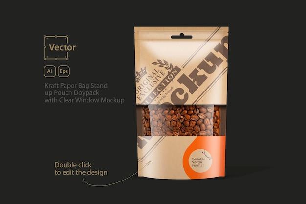 Пакет из крафт-бумаги stand up pouch doypack с прозрачным окном, макет Premium векторы