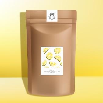 クラフト紙ジッパーポーチまたはサシェ包装、乾燥レモンスライススナックデザイン