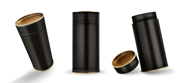 Kraft tube boxes mockup, closed and open cardboard cylinders of speckled black color