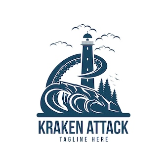 Kraken attack light house vector illustration
