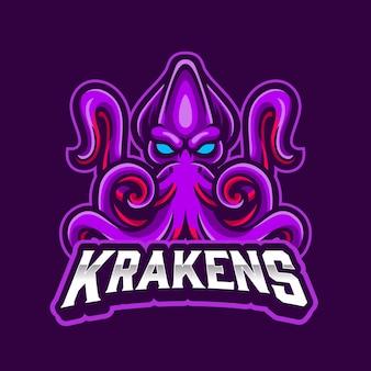 보라색 배경이있는 스포츠 및 esports 로고를위한 kraken 마스코트 바다 괴물 로고